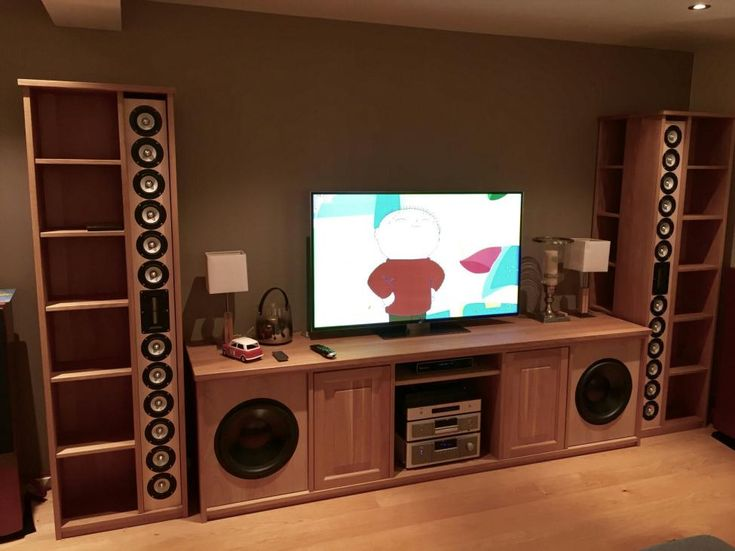 "The customer transformed the In-wall line sources to ""In-shelf"" WAF-WAF... (Grilles off). Woofers are 15"" Daytons in closed box."