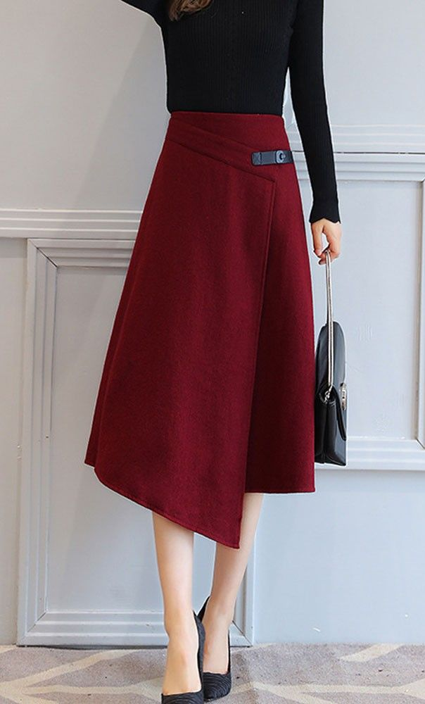 Womens Foldover Belted Unique Knit Skirt in burgundy