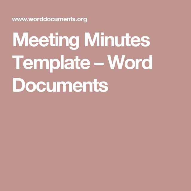 Meeting Minutes Template – Word Documents