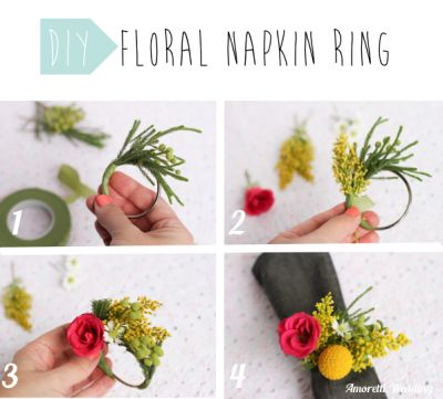 DIY: Floral Napkin RingStep 1, get a steel wire, a green tape and some little flowers (choose the colors to match your wedding theme)? Make a circle with the steel wire. Step 2: Start scotch taping the flower on your steel ring. Step 3: Add different flowers to the ring. Step 4: Your floral napkin ring is ready to impress your guests! #DIY #napkin #ring #floral #inspiration #wedding