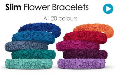 Flower Bracelets | Colourful Silicone Rubber Bracelets in various sizes and colours.