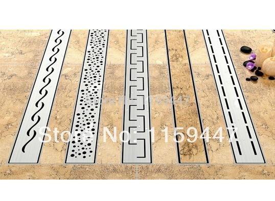 304 stainless steel 60cm tile insert rectangular linear antiodor floor drain bathroom hardware invisible shower