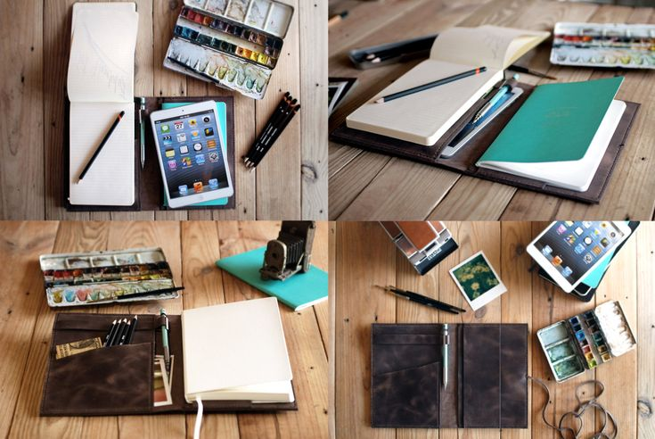 Large Moleskine leather cover. Ipad Mini cover. Moleskine leather case. Agenda cover. Travel gift. Journal cover. Dark Brown notebook cover
