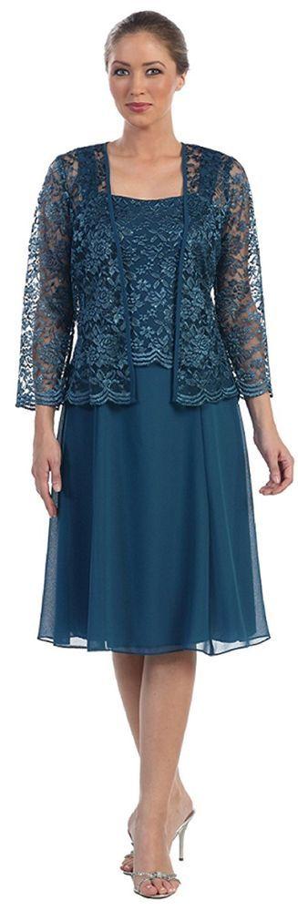 Pantorrilla vestidos madre de la Novia Talla Plus Con Encaje Chaqueta vestidos HD373   Ropa, calzado y accesorios, Ropa para mujer, Vestidos   eBay!