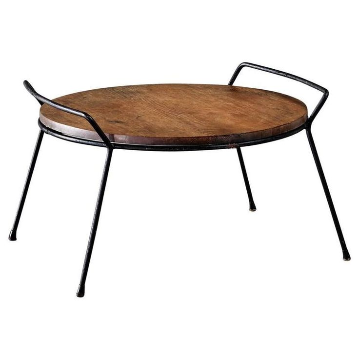 French Steel and Oak Tray Table, 1950s | From a unique collection of antique and modern tray tables at https://www.1stdibs.com/furniture/tables/tray-tables/