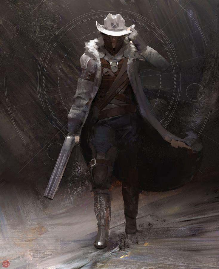 Over Yonder by madspartan013, space cowboy, #cowboy#, digital painting, inspirational art, #painting, man, walking, gun, concept art