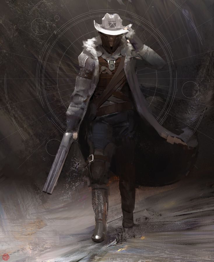 Over Yonder by madspartan013, space cowboy, #cowboy#, digital painting, inspirational art, #painting, man, walking, gun, concept art