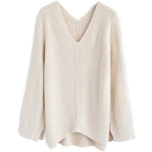 Chicwish Ultra-Cozy Ribbed V-Neck Knit Sweater in Cream ($52) ❤ liked on Polyvore featuring tops, sweaters, white, ribbed knit sweater, white top, v neck sweater, ribbed knit top and cream sweater