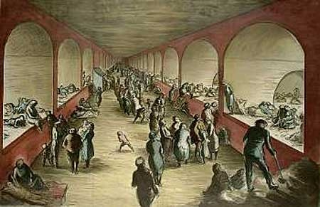 Tilbury shelter, in the cellars of a warehouse in London Docks in the East End by Edward Ardizzone working as an Official War Artist during WW2.