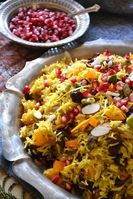 Javaher Polow (Persian Jeweled Rice). alternate here: http://turmericsaffron.blogspot.com/2011/01/javaher-polow-persian-jeweled-rice.html or here: http://ooh-look.blogspot.com/2011/03/treasure-chest-of-jewelled-rice.html or here: http://www.greenchicafe.com/jeweled-basmati-rice or here: http://www.chatelaine.com/recipe/world-cuisine-2/jewelled-rice/