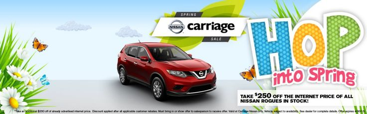 April Specials: Take $250 off the internet price of all Nissan Rogues in stock!