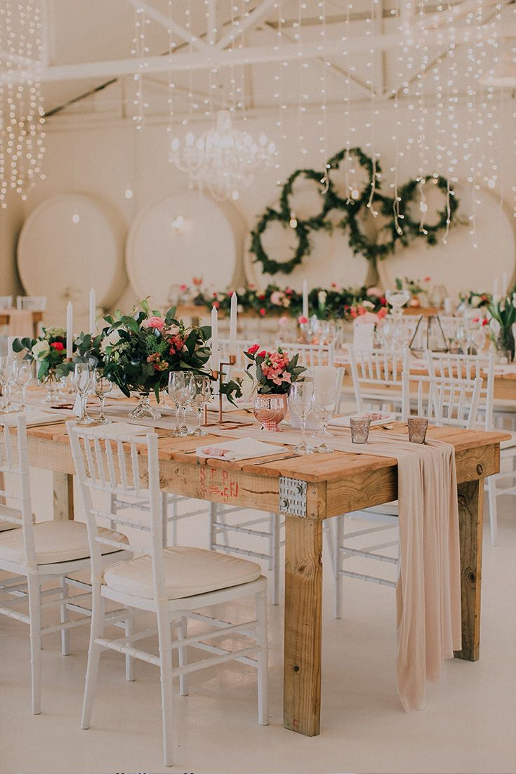 Wedding decor ideas with blush, nude pinks, splashes of bright pink and forest greens.  Groenrivier Venue.    Floral Design & Decor:  Sitting Pretty   Coordination: Anna H Styling   Stationery: Blooming Wonderful