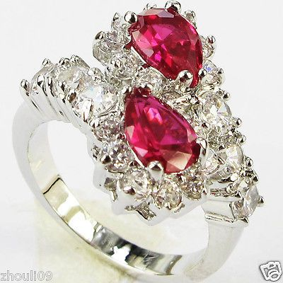 Elegant gorgeous 925 Silver Glod Filled Ruby 5.5ct fine Ring Size6-size10 gift