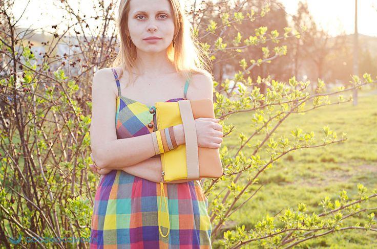 "Yellow clutch ""CarryMe"", orange, vegan leather by GoodMoodMoon on Etsy https://www.etsy.com/listing/181943759/yellow-clutch-carryme-orange-vegan"