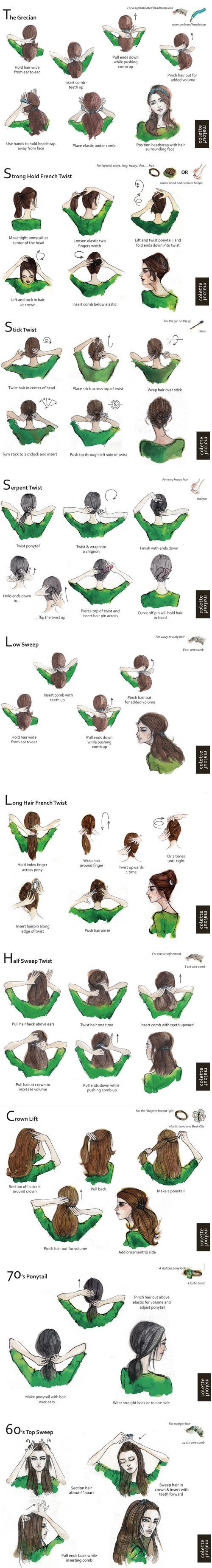 Have you seen these terrific hairstyle illustrations? All from Colette Malouf, who makes gorgeous hair accessories.