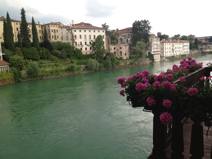 The fast flowing River Brenta. Fly fishing is a popular sport here. Bassano del Grappa, Italy