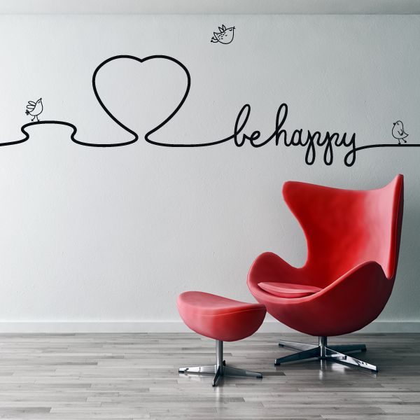 Vinilo sticker decorativo BE HAPPY --> Exclusivo en www.viniloscasa.com