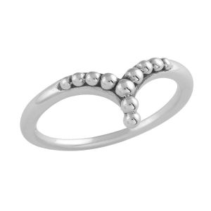 sterling silver beaded chevron ring