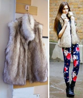 Women Vintage Trend Celeb Stand Collar Hairy Shaggy Faux Fur Long Vest YY20 | eBay