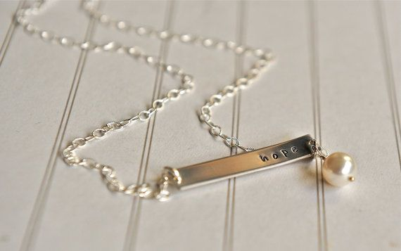 Bar Necklace Nina Proudman Style Hope Necklace by SevenBlueberries, $39.00 ?bridesmaid jewelery