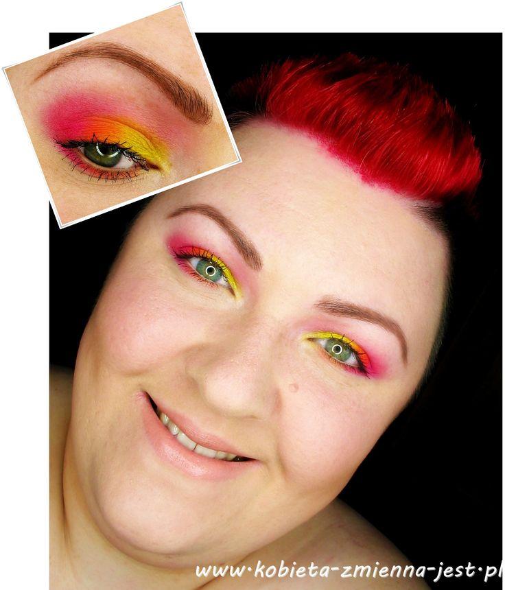 tytułowy makijaż makeup sleek ultra mattes v1 brights neons neony kolorowo jaskrawo żółć pomarańcz róż makeupblogger blog