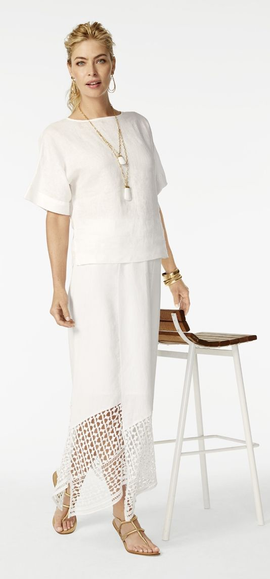Our new favorite romance? Feminine crochet on white linen.
