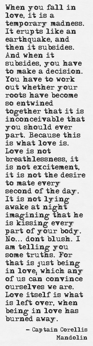 Love itself is what is left over when being in love has burned away....that is what real love is. It's for the long haul • ROMANCE n' мαιяяαgє ☯. #reallove