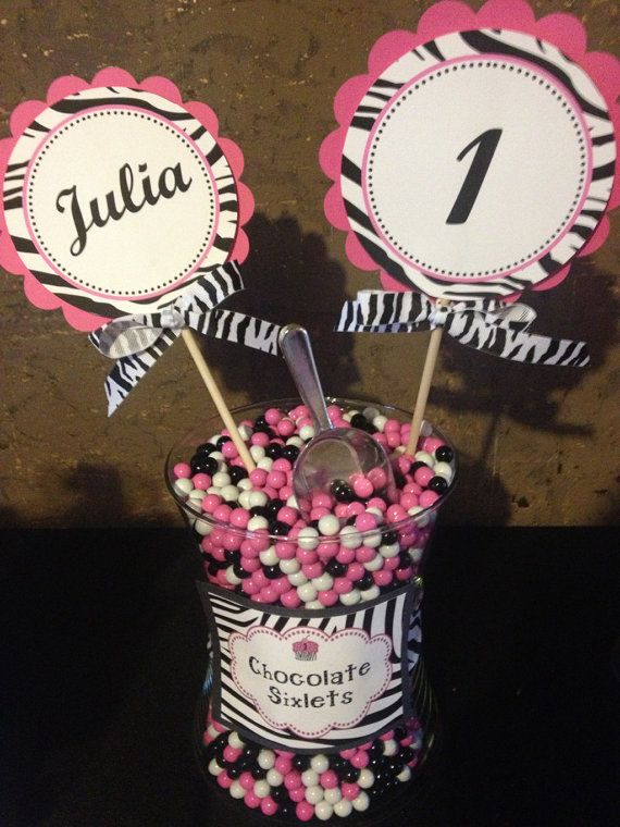 Hot Pink and Zebra Centerpiece Decoration by inspirationsdesign, $8.00