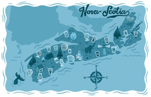 Map of Nova Scotian Breweries and brewpubs as featured in East Coast Crafted: The Essential Guide to the Beers, Breweries, and Brewpubs of Atlantic Canada.
