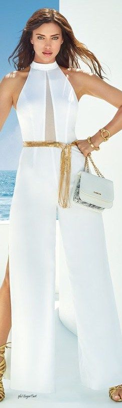 Irinia Shayk Bebe Summer 2016 white jumpsuit @roressclothes closet ideas #women fashion outfit #clothing style apparel