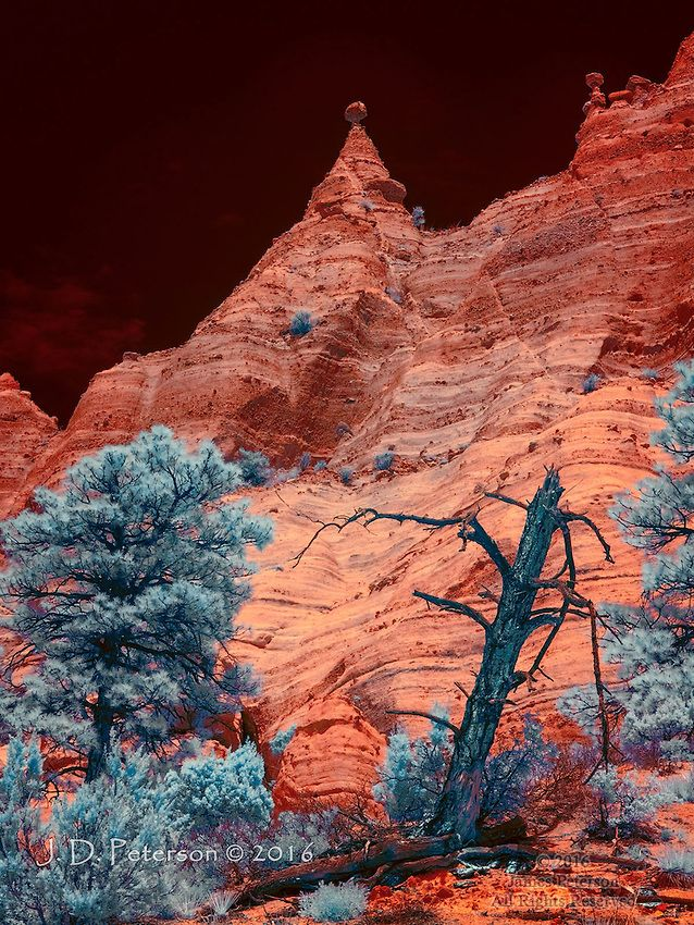 The Pinnacle (Infrared) ©. 2016 James D Peterson.  The otherworldly volcanic formations of New Mexico's Kasha-Katuwe Tent Rocks National Monument are enlivened by the exotic hues of a color infrared image.