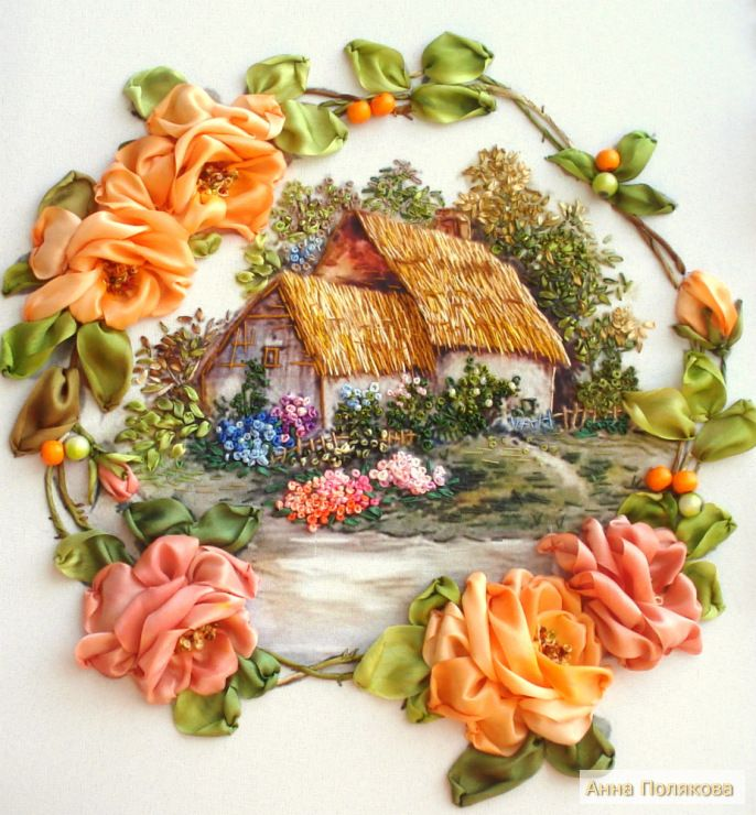 Вышивка розы риолис