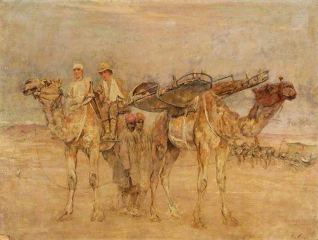 First World War: Wounded Soldiers in Palestine Being Carried on Cacolets on the Backs of Camels, c.1917 by Sir George Pirie (1863-1946)