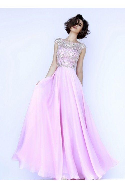 2015 Prom Dresses A-Line Scoop Floor-Length Chiffon Dark Royal Blue Beaded Bodice - Prom Dresses