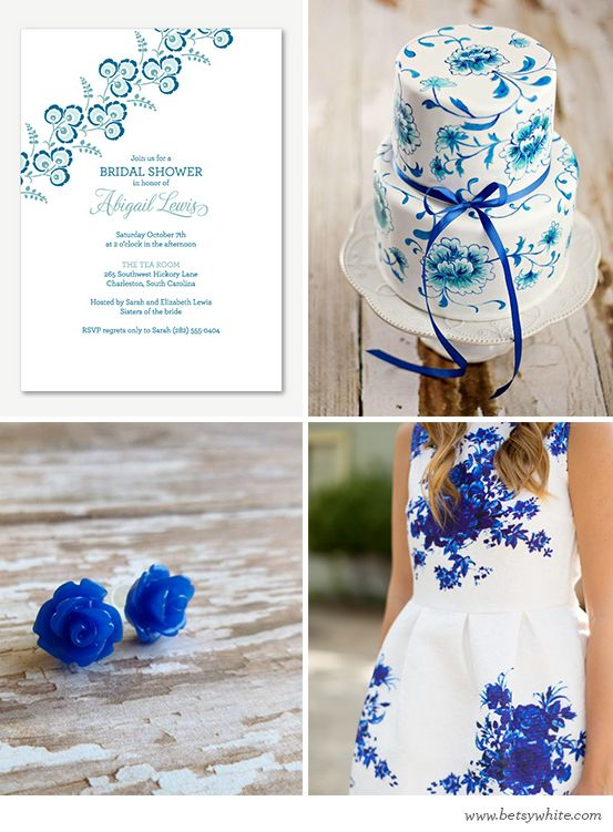 Inspiration: Blooming Blue Bridal Shower  | Flights of FancyBridal Showers, Blue Bridal Shower