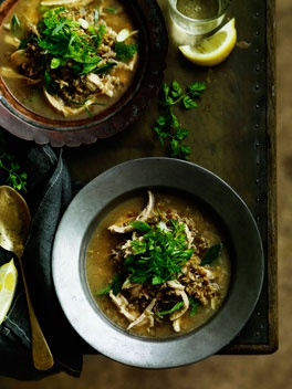 Arabian freekah soup with chicken, yoghurt and herbs - Freekeh is also known as greenwheat and is available at some health food stores or Middle Eastern stores