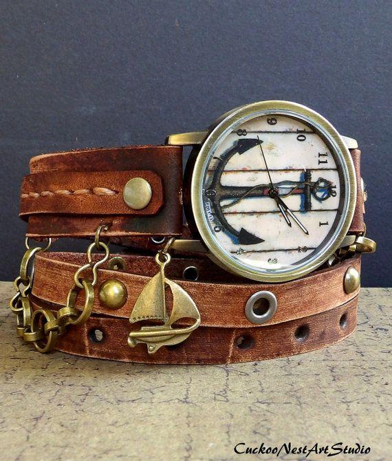 Anker-nautische Uhr braun Uhr Leather Watch Uhr Damenuhr