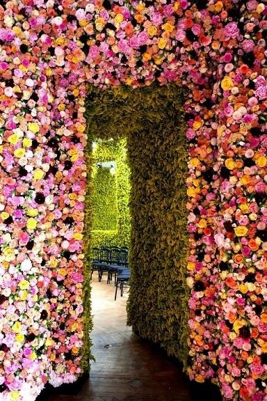 """Flower wall built for a Dior fashion show.  This was inspired with a vision that paid homage to Christian Dior's """"Flower woman"""" and his enduring love for flowers and nature."""