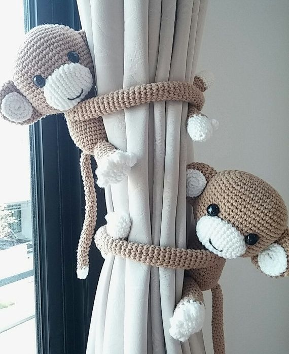 Monkey curtain tie back, cotton yarn crochet monkey, amigurumi