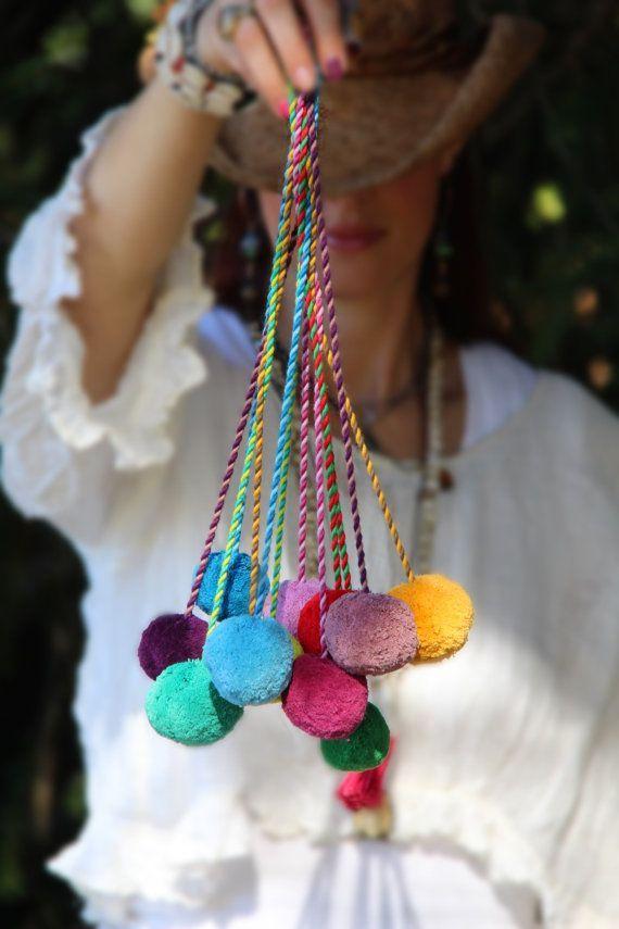 Kies uw kleur Pom Pom Swag Bag charme, zak Pom, binden terug, Pom Pom touw, kwast, decoratie, Bohemian Fashion, versieren van levering, Design