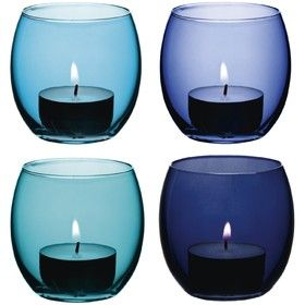 Set of four tealight holders in shades of blue from Annabel James