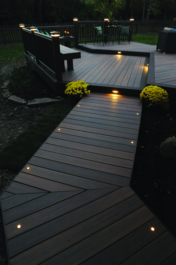 deck lighting ideas. light the night for you and your guests with timbertech decking lighting this deck ideas