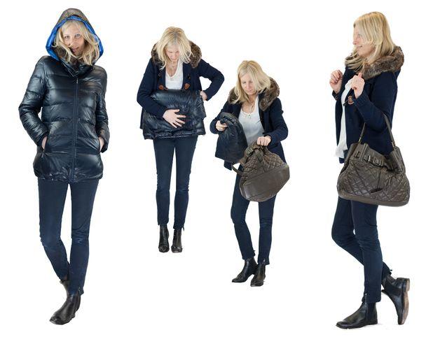 Innovative Daunen-Winterjacke mit 3 Funktionen für alle Mütter, die ihre Babys auch im Winter am Herzen tragen möchten.      Funktionen: Warme Daunenwinterjacke, Umstandsjacke, Winterjacke...