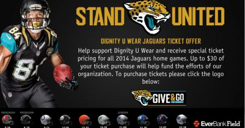Anyone in Tampa or a Tampa Bay Buccanneers fan? Be  sure to get your tickets for the August 8 Jaguars game and support Dignity U Wear at the same time. Great seats still available! http://npc.nonprofitctr.org/shell/jaguars_tickets.asp?msid=294