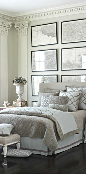 Elegant, Classical #MasterBedroom, Grey and white, with framed vintage maps, #ClassicalHomeDesignStyle