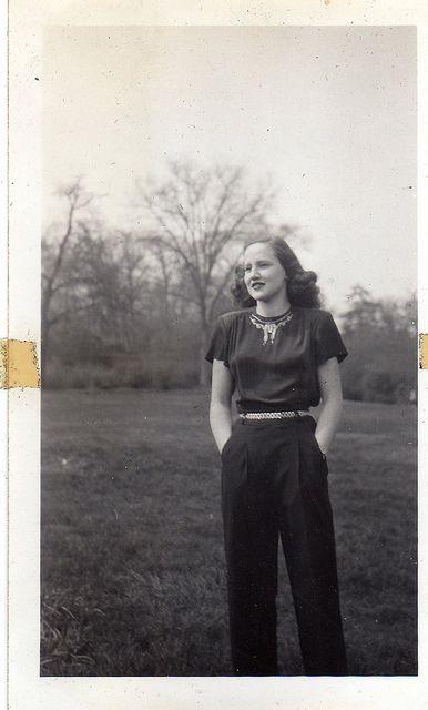 Classic 1940s blouse and slacks.