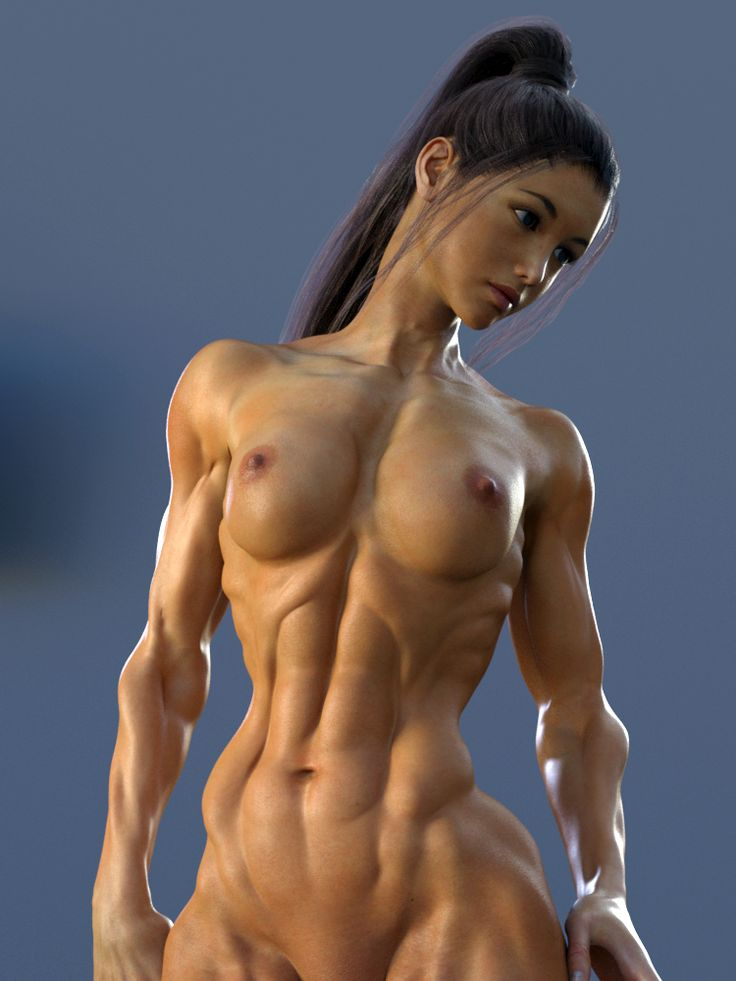 Musclegirl Abs Nude  Muscle Anime And 3D -4452