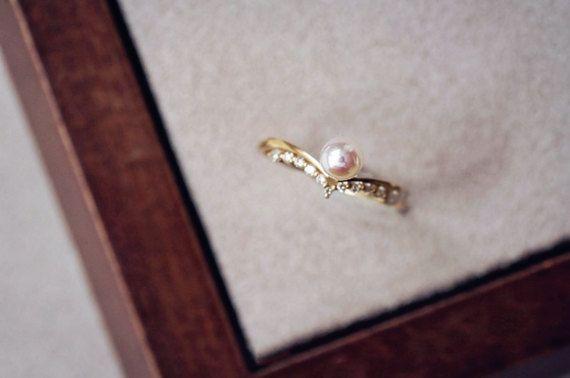 Bague perle Akoya Pearl bague perle mariage 18K perle bague en or 14K or bague perle perle bague de fiançailles perles Akoya japonaises bague