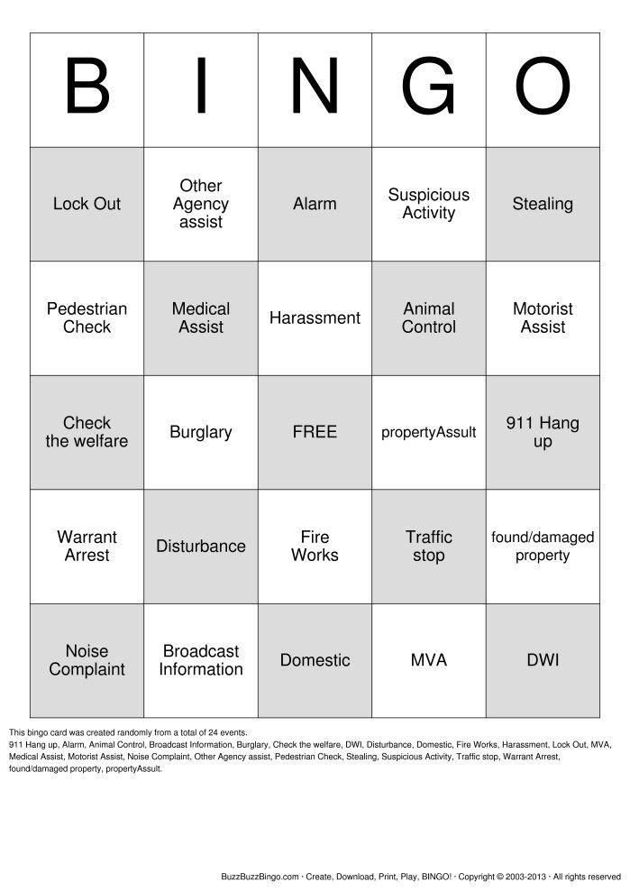 Dispatch Bingo! Bingo Card