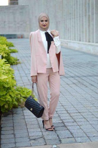 blush pink hijab suit- New street looks by Leena Asaad http://www.justtrendygirls.com/new-street-looks-by-leena-asaad/